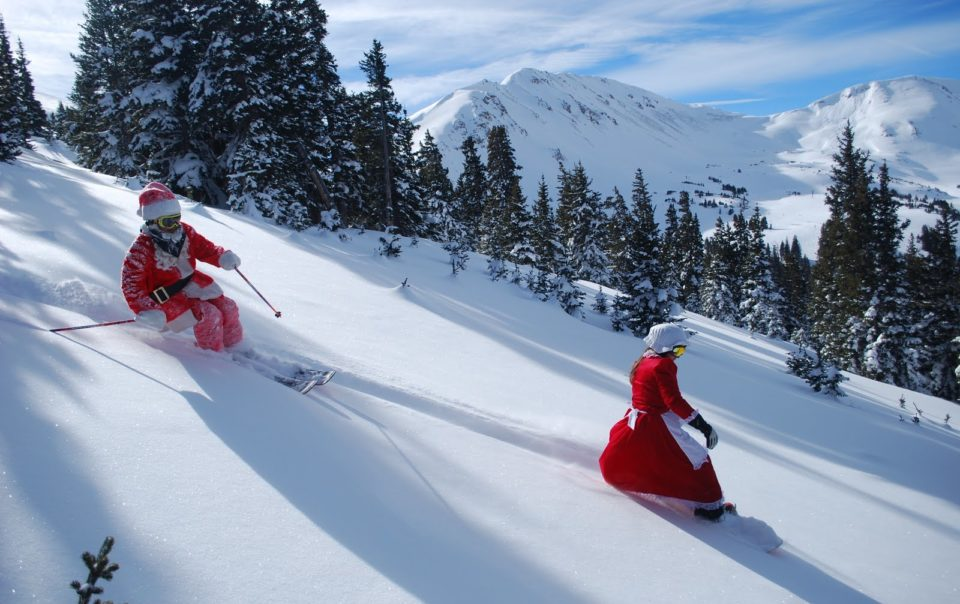 Father Christmas Sledging Whilst Staying In One Of Luxury Ski Chalet In Courchevel