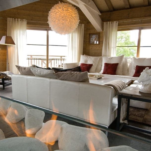 Sitting Room With Fire At Our Luxury Ski Chalet Igloo In Courchevel Le Praz